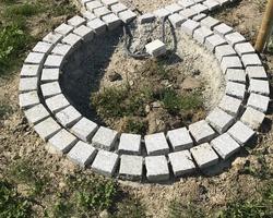 Pose de pavé servant de bordure pour jardinière